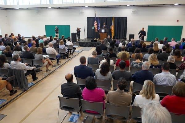 Mayor Melvin Carter speaks to audience