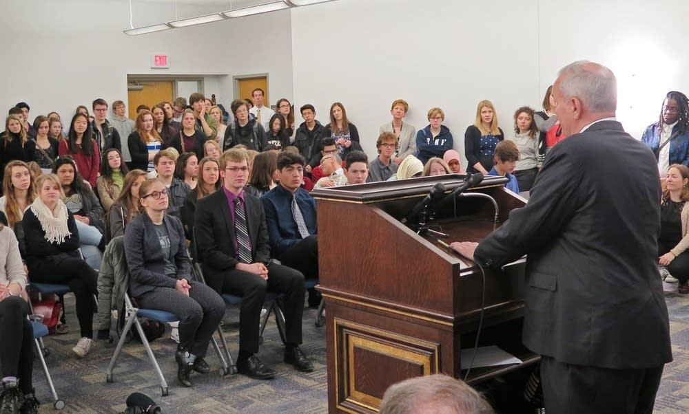 Gov. Dayton addresses students.