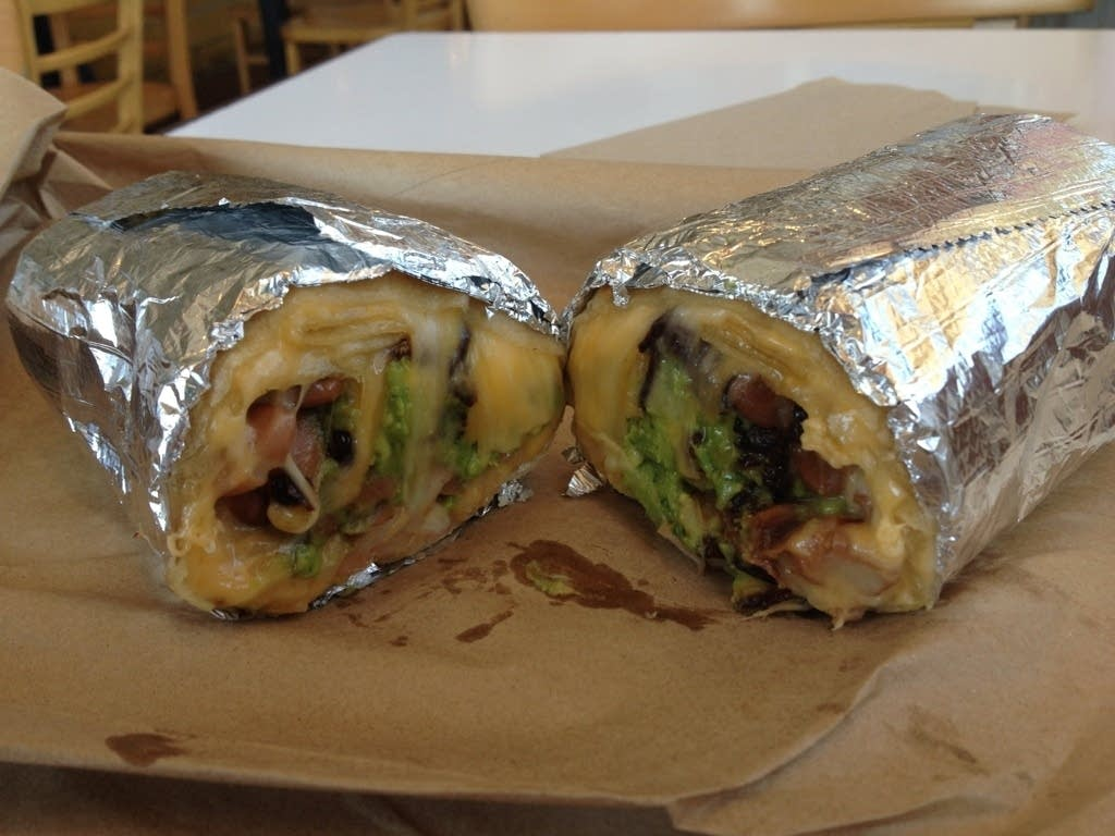 Burrito cut in half