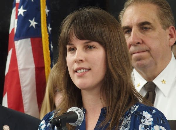 Sexual assault survivor Sarah Super speaks during a press conference.