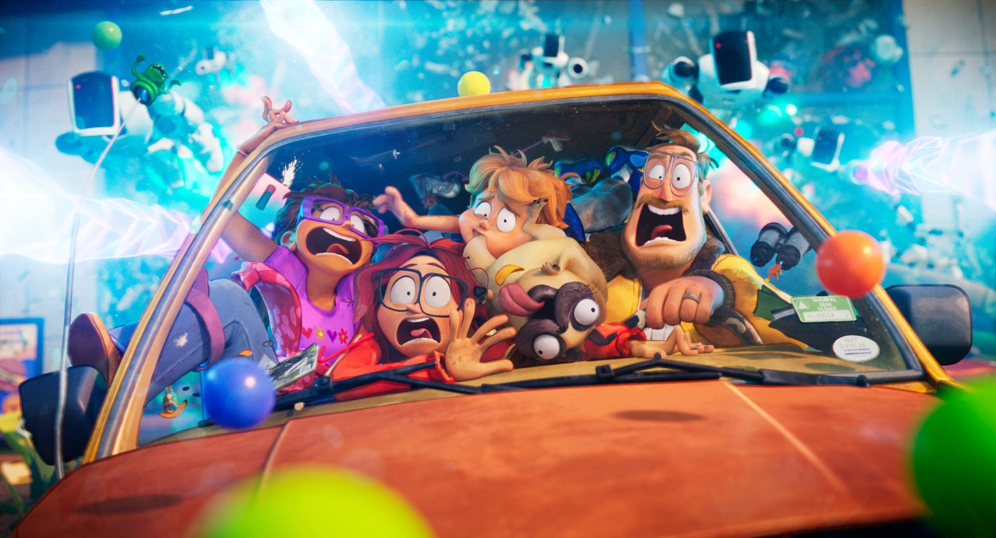 An animated family packed into a car and screaming.