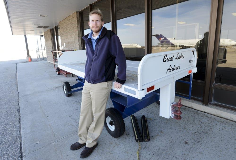 Empty luggage cart