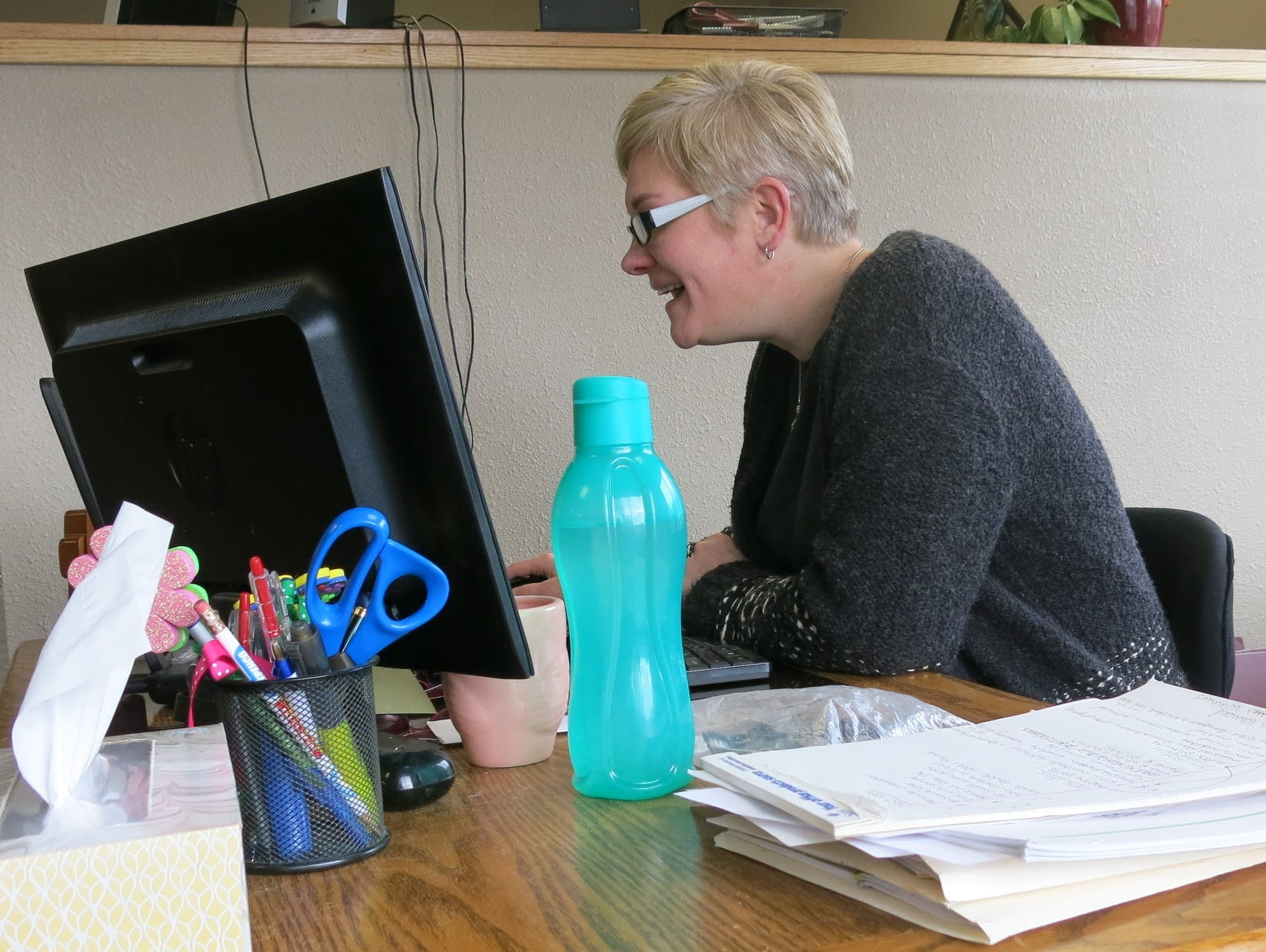 Editor Zaiser proofreads last articles to go into the Warroad Pioneer.