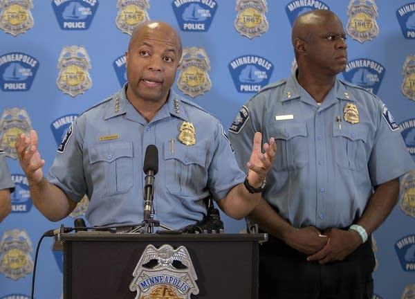Minneapolis police chief Medaria Arradondo addresses the media.