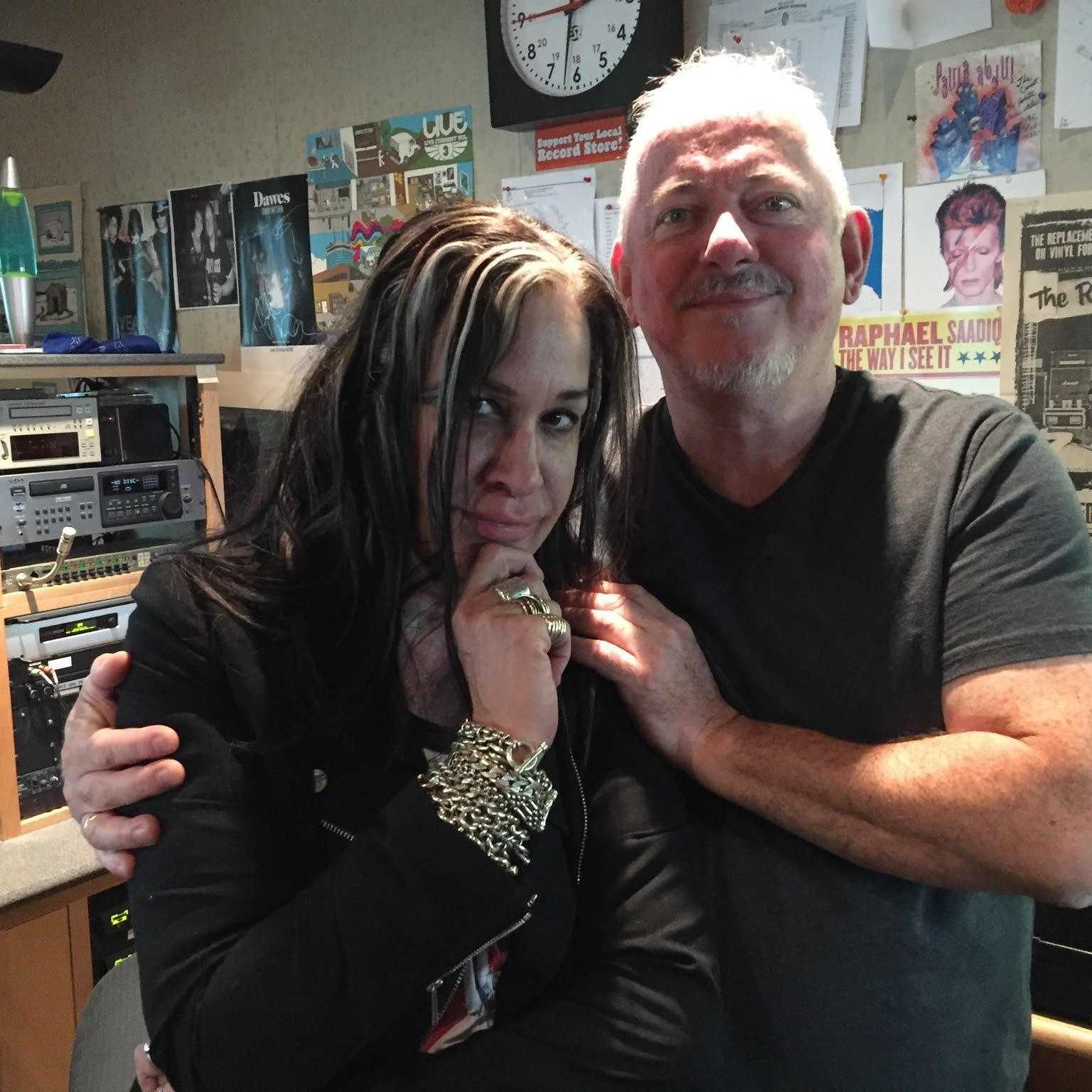 Mary Lucia with Jon Langford in The Current studio