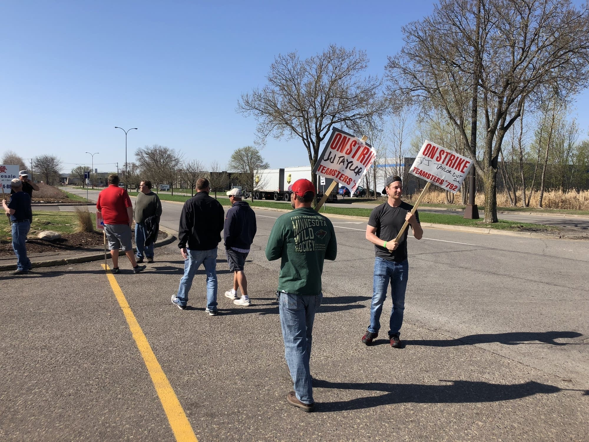 Strikers were picketing the J.J. Taylor distribution facility