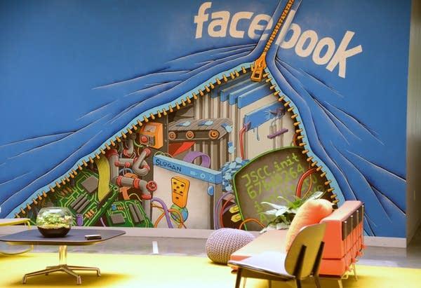 A mural at Facebook HQ