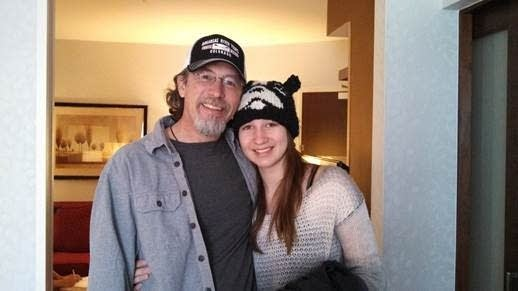 Chuck Lesniak and his daughter in 2013 when she was in treatment in Utah.