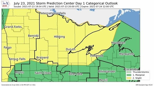 Severe weather risk areas