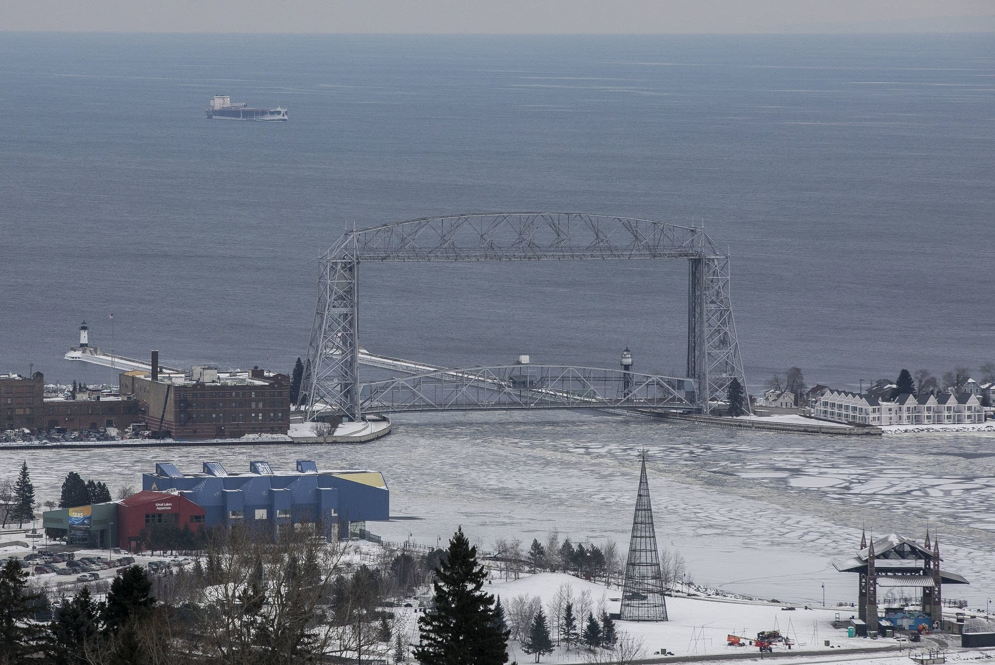 A ship awaits entry into the Duluth Harbor Tuesday.