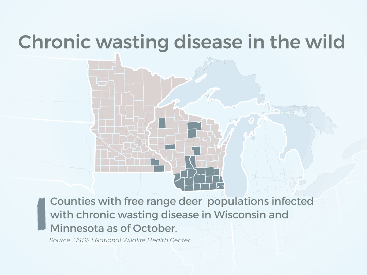 Minnesota has only two reported counties with CWD in the wild