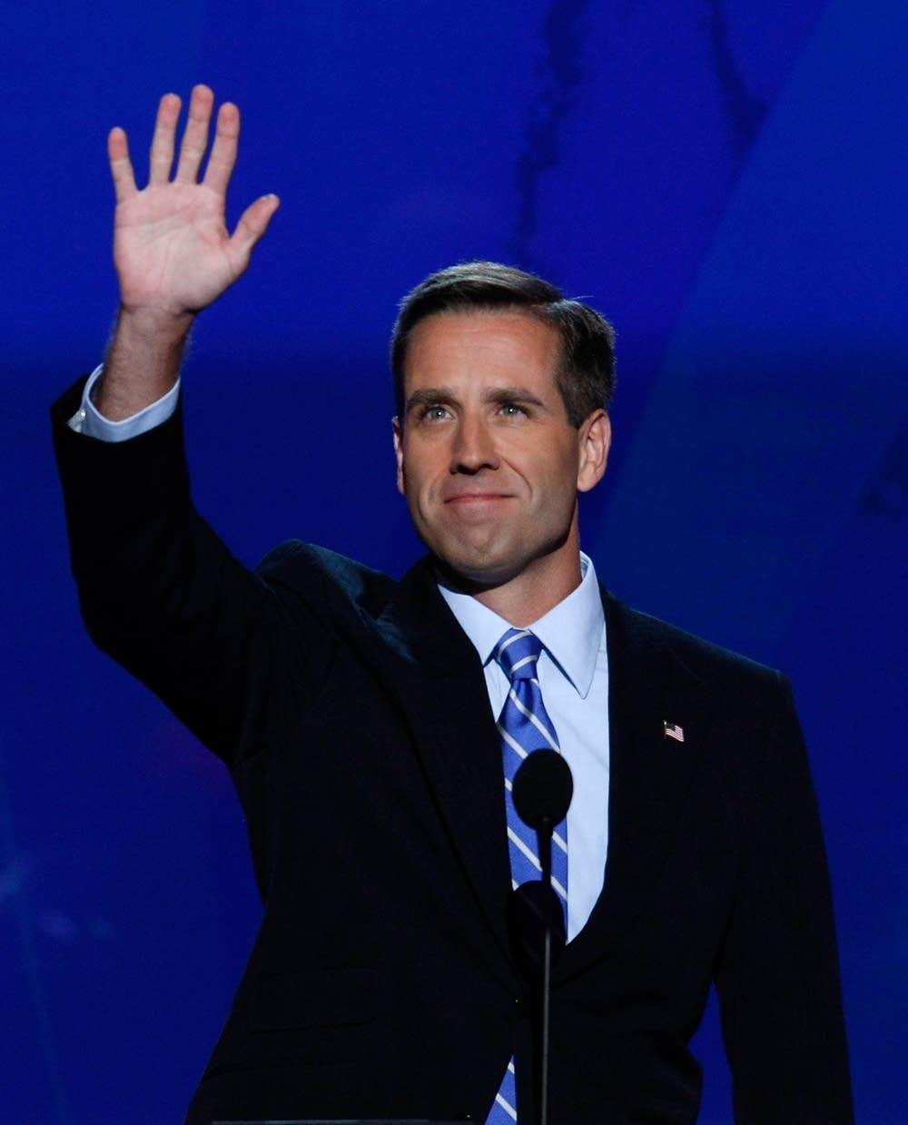 Bo Biden waves to the crowd of delegates