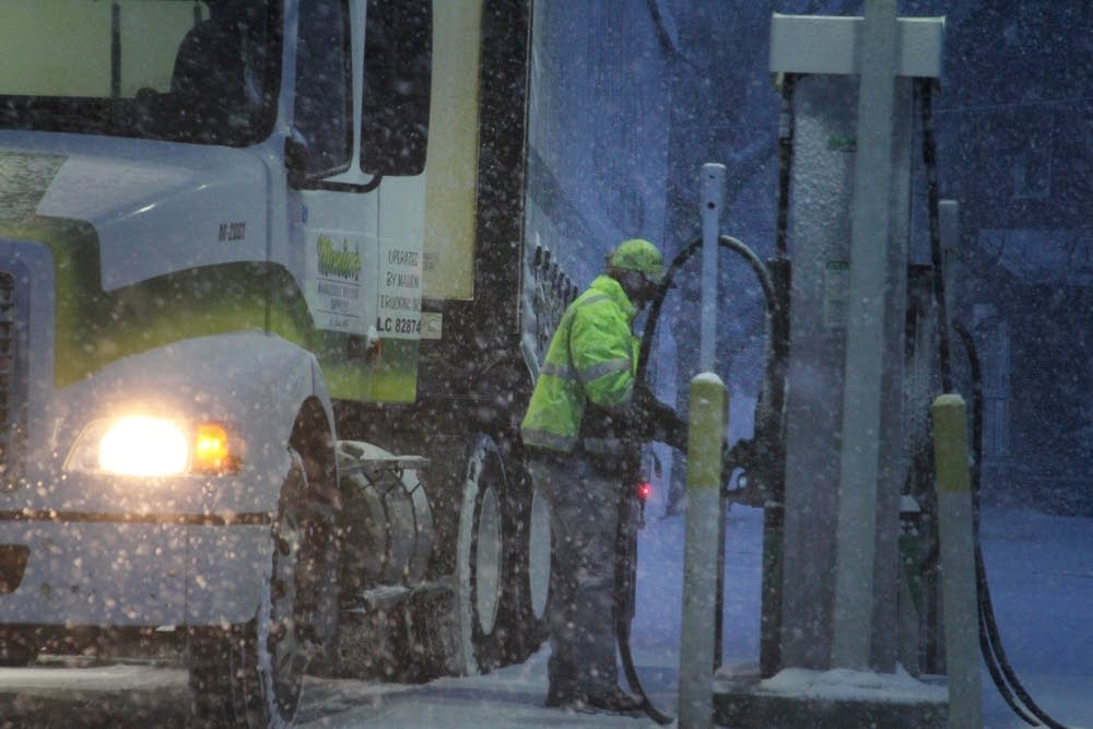 Snowing filling station