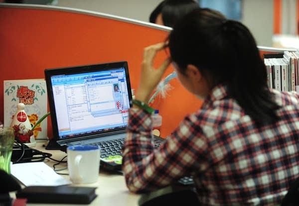 Woman working online