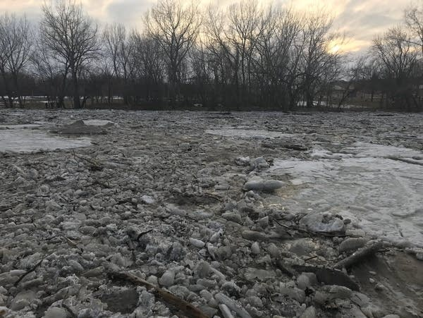 An ice jam on the Minnesota River near St. Peter, Minn.