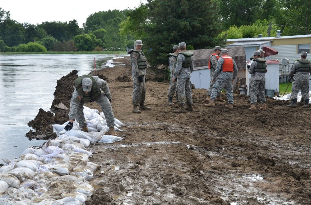 Placing sandbags