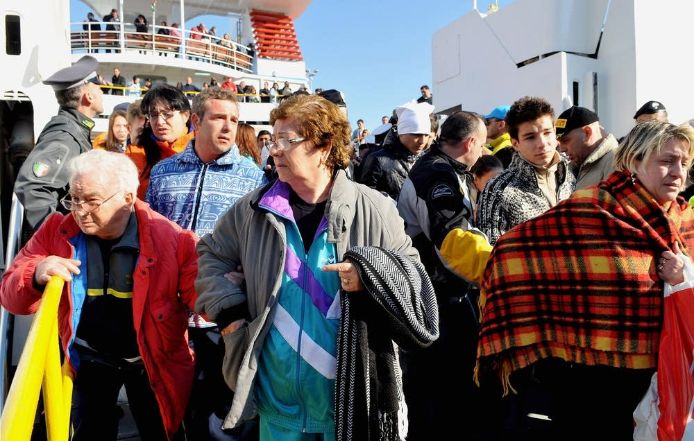 Passengers from cruise ship Costa Concordia