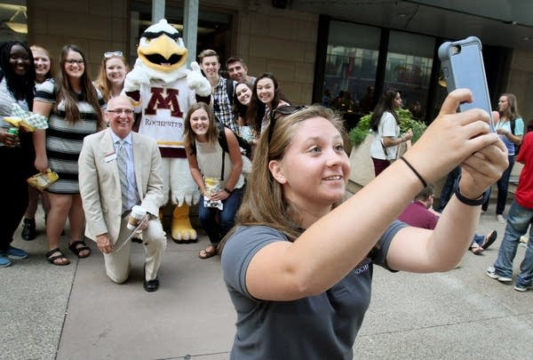 Students took a first-day selfie.