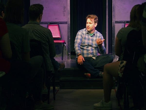 Mike Birbiglia talks to students at HUGE Improv.
