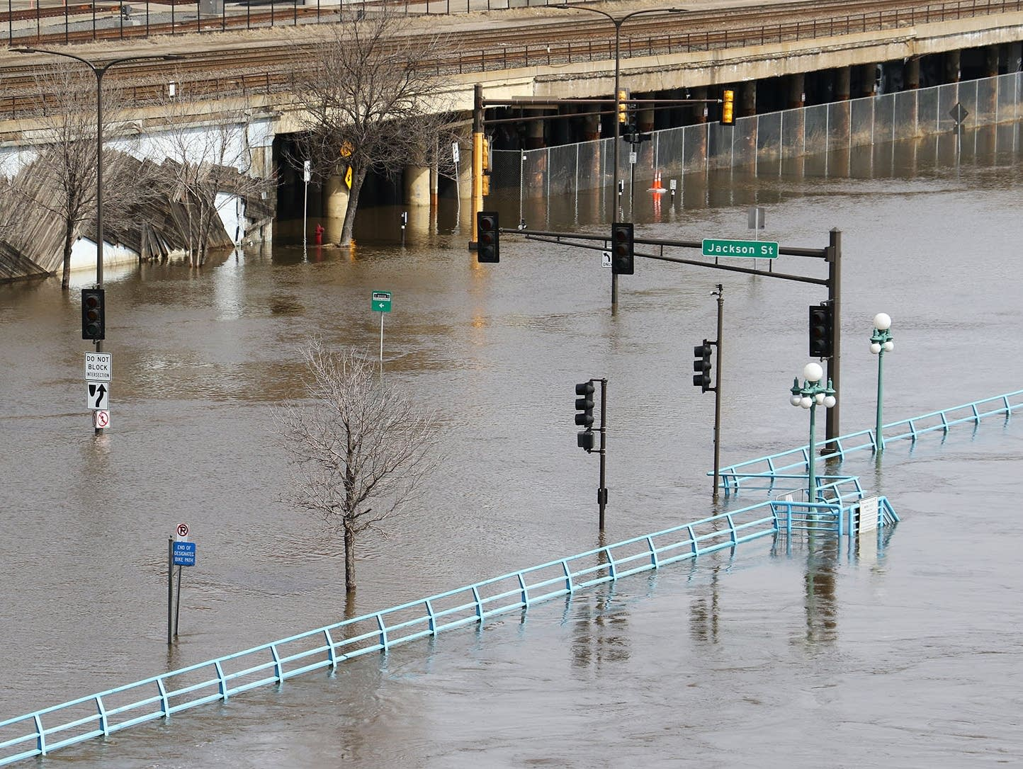Mississippi River floodwaters cover Shepard Road