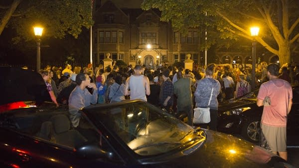 Protesters gather outside of Governor's Mansion.