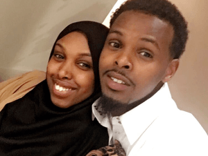 Iman Osman and her husband Mohamed Hussein pose for a photo.
