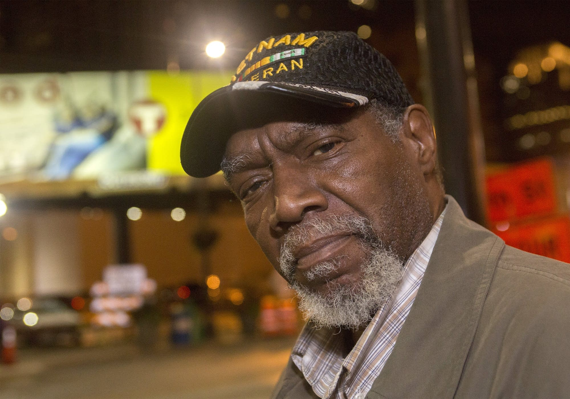 Vietnam veteran Vernon Patterson sits by the Loon Cafe.