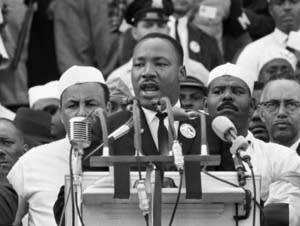 Rev. Dr. Martin Luther King, Jr. speaks during the March on Washington