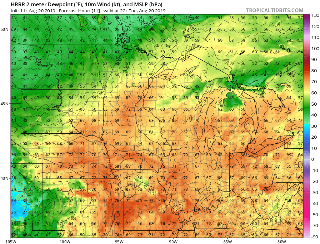 NOAA HRRR model dew point forecast this afternoon