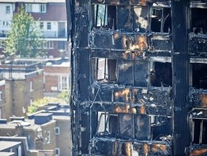 The charred remnains of the Grenfell Tower block