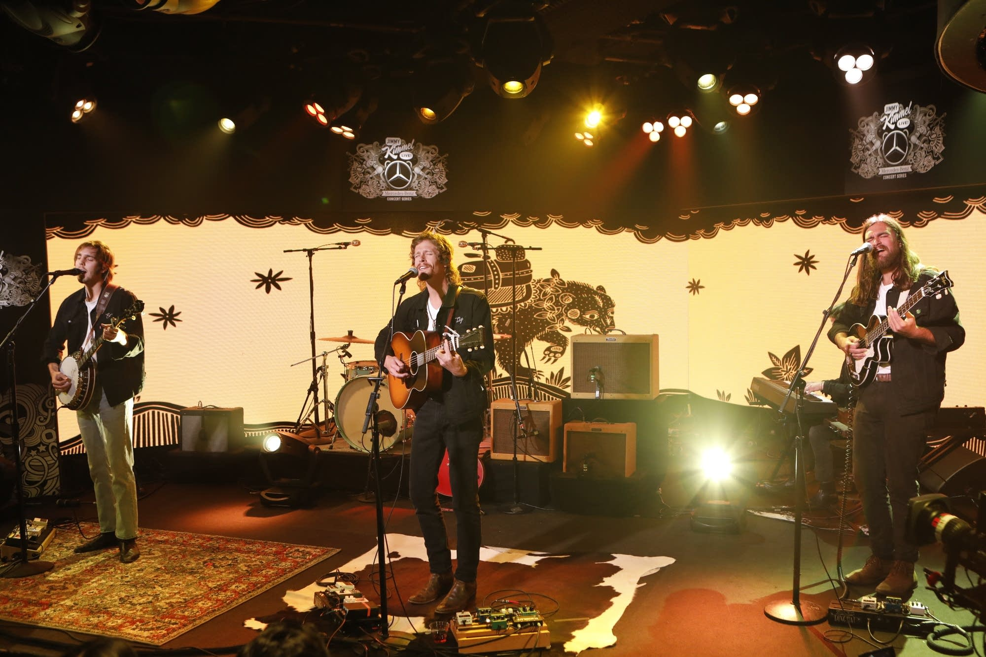 Caamp performing on 'Jimmy Kimmel Live!'