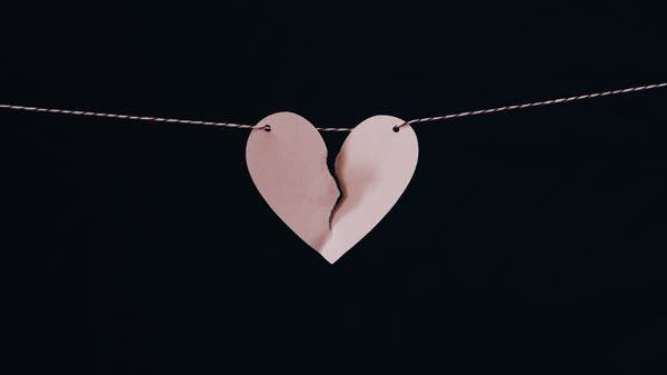 Broken heart on a string