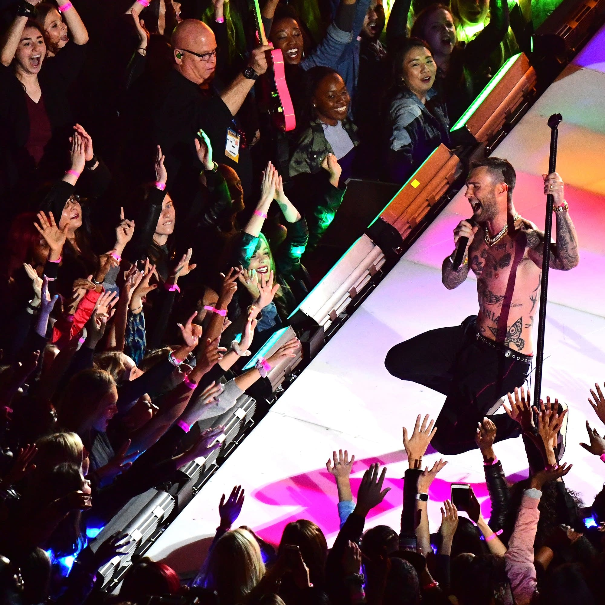 Adam Levine of Maroon 5 performs at the Super Bowl LIII halftime show.