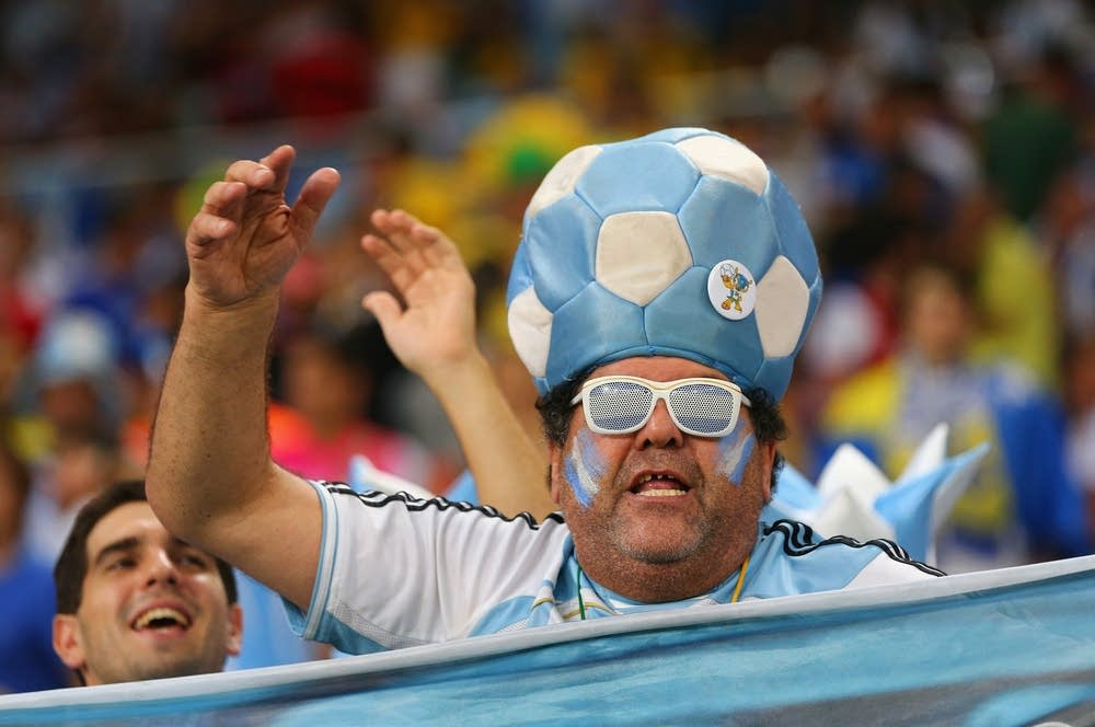 An Argentina fan cheers
