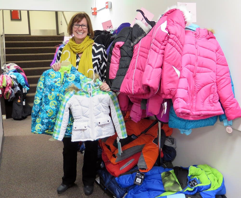 Anne McInerney with donated coats