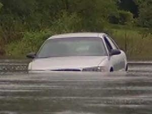 Flooded road in Decorah, Iowa