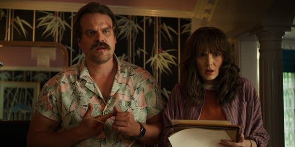 David Harbour and Winnona Ryder in Strangers Things.