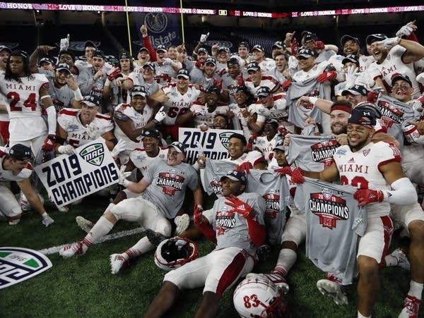 College football team celebrates
