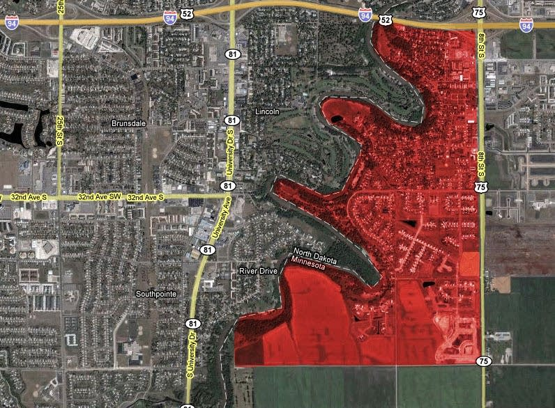 Moorhead evacuation area