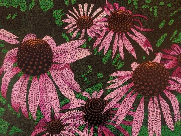 "An acrylic painting titled ""Coneflowers"" by Eve Wallinga."