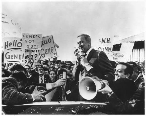 Senator Eugene McCarthy during presidential primary campaign in New Haven, Connecticut on 04/03/1968