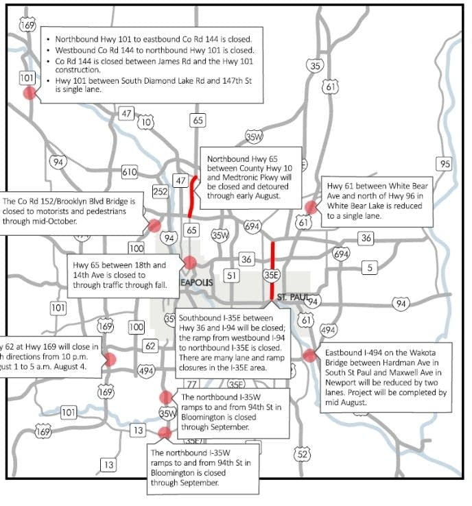 Weekend road closures