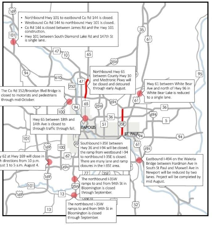 Weekend road closures