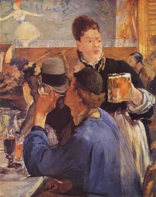 Waitress Serving Beer