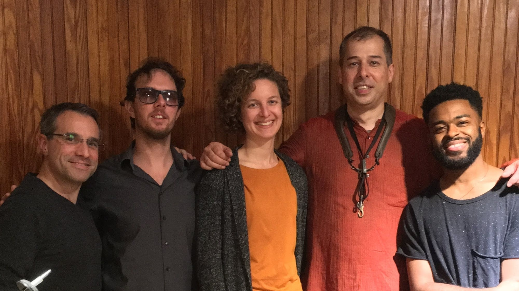 Luthra (second from right) and band with producer Jocelyn Frank (center)