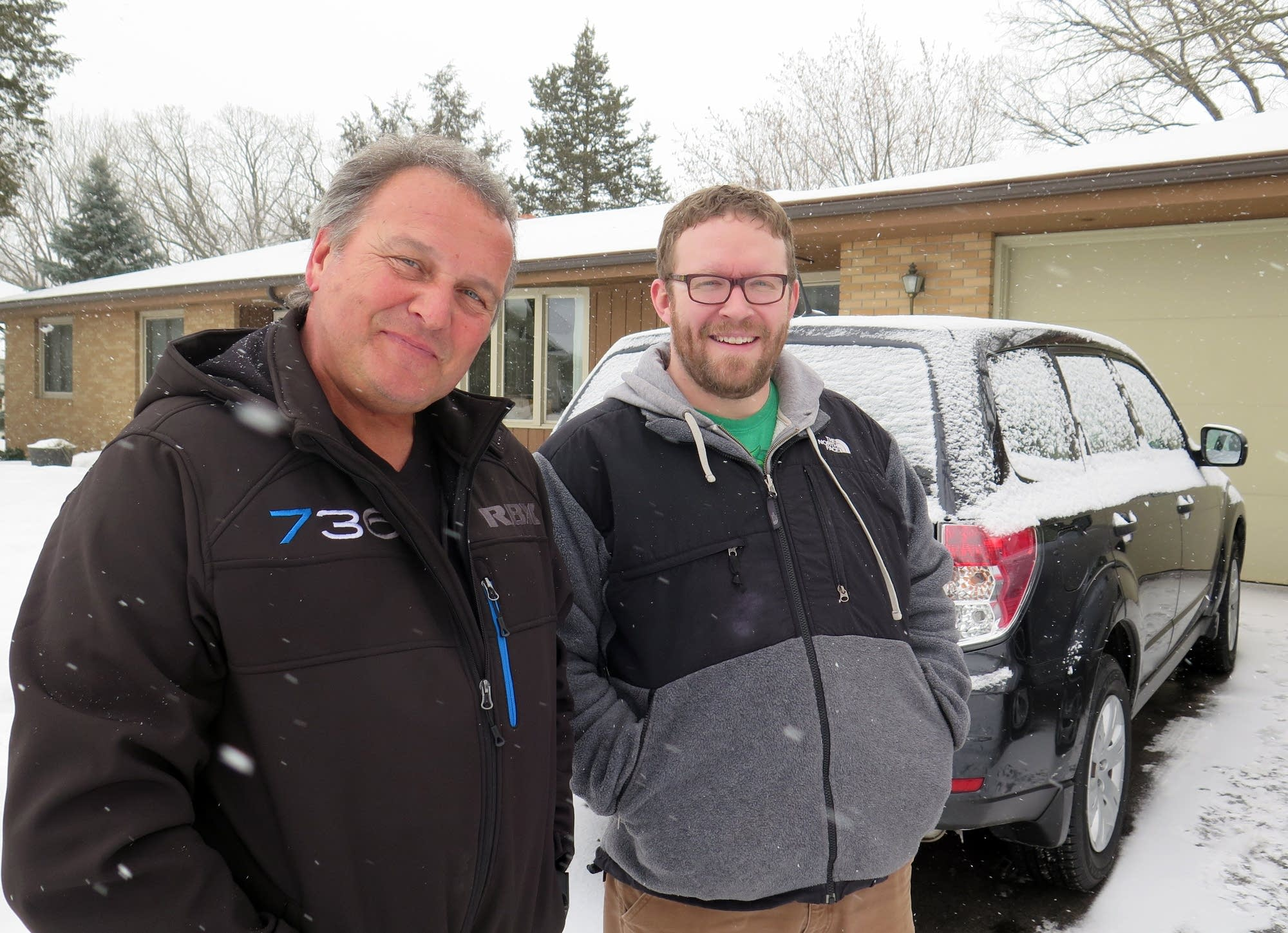Eagles fan Robert Inverso, left, rented Eric Patenaude's Subaru Forester.