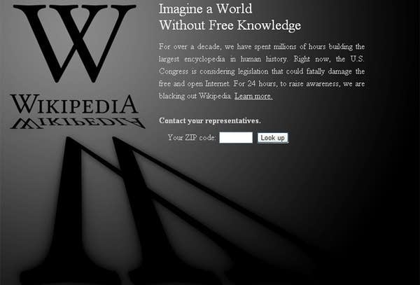 Wikipedia's protest screen