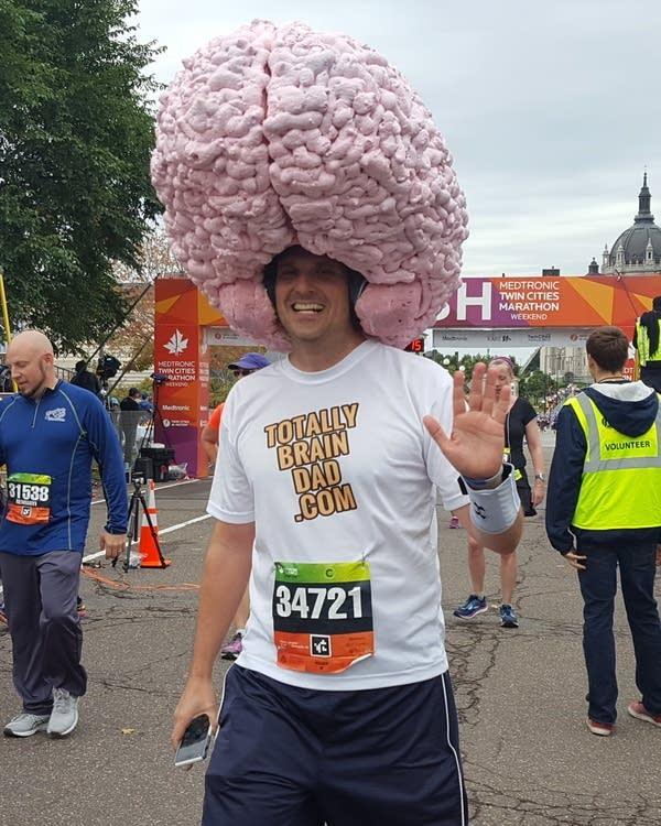 Ben Osborn ran the marathon to raise money for kids with brain tumors.