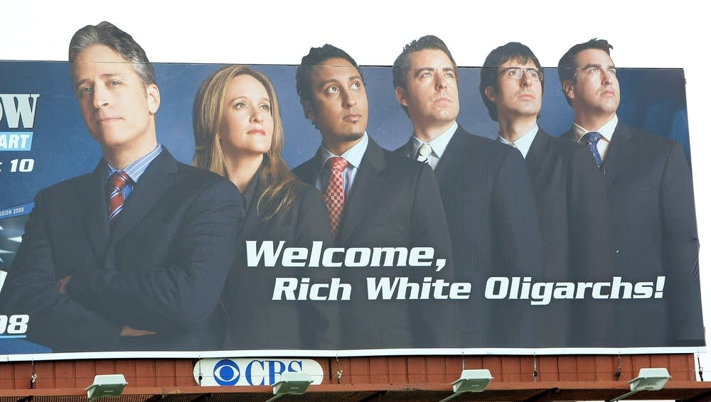 A 'Daily Show' billboard near the airport