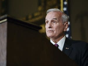 Gov. Mark Dayton listens to reporter's questions